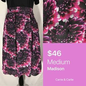 LuLaRoe Black Floral Madison Skirt